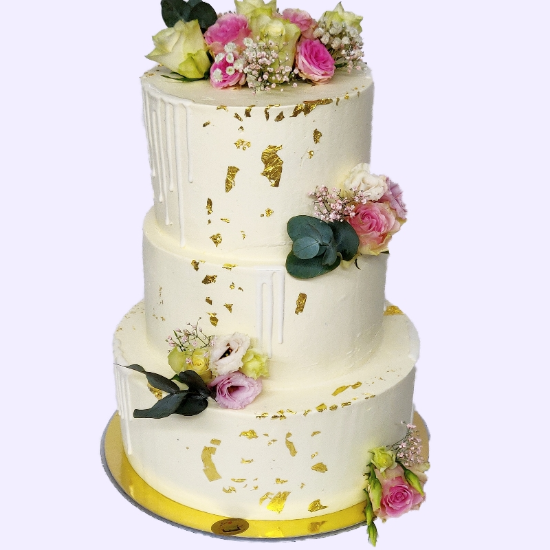 3 Stöckige Hochzeitstorte mit Blattgold