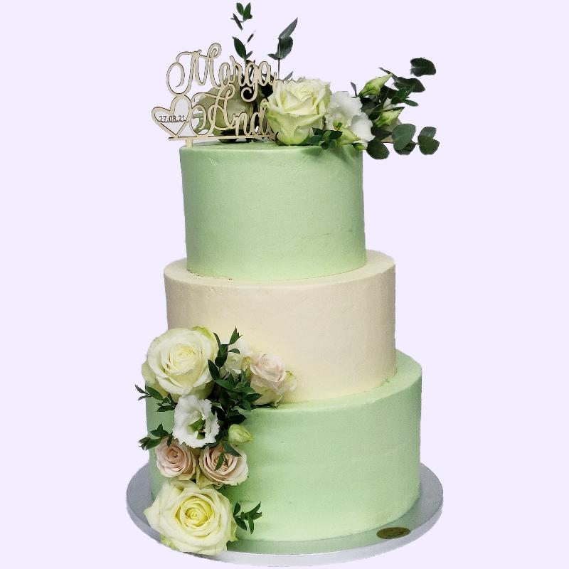 3 Stöckige Hochzeitstorte in Mint